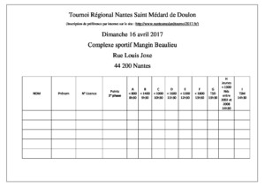Tableau d inscription tennis de table ligue des pays de la loire - Tableau tournoi tennis de table ...