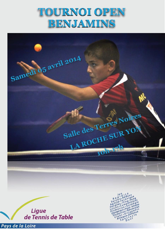 Tournoi open benjamins tennis de table ligue des pays de - Ligue des pays de la loire tennis de table ...