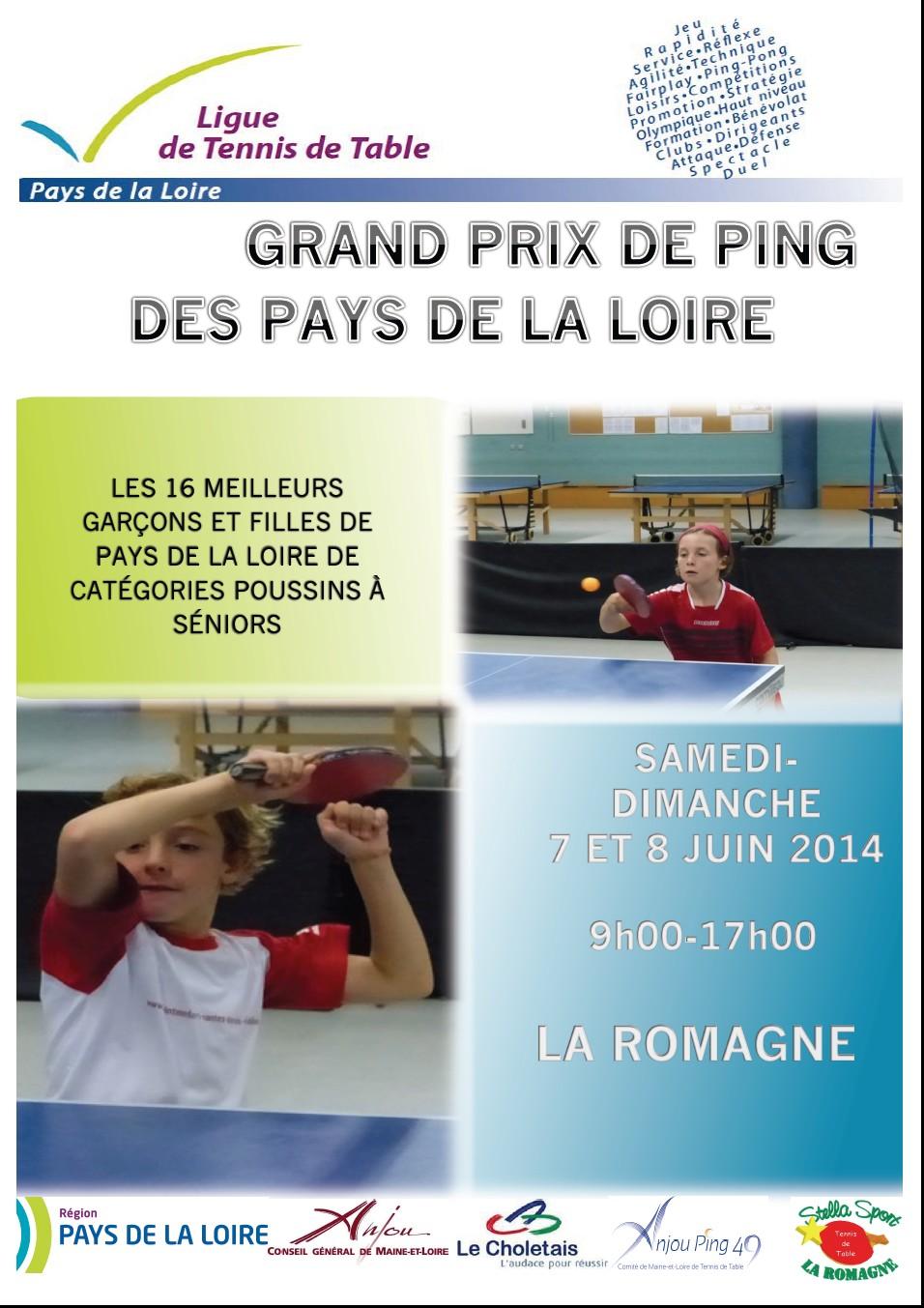 Affiche grand prix 2 tennis de table ligue des pays de - Ligue des pays de la loire tennis de table ...