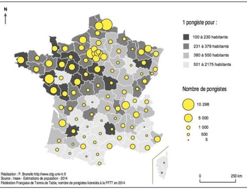 La carte de France du ping