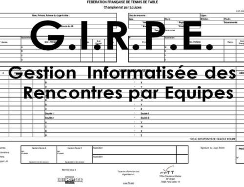 G.I.R.P.E.7.3- mise à jour du logiciel de gestion du championnat