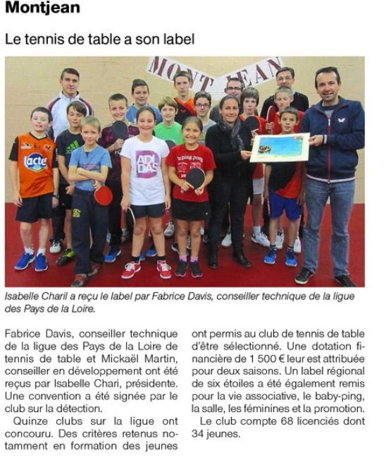 Le club du tt montjean vient d tre labellis tennis de table ligue des pays de la loire - Ligue d auvergne de tennis de table ...