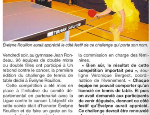 Très forte mobilisation des pongistes pour le Challenge Evelyne ROUILLON