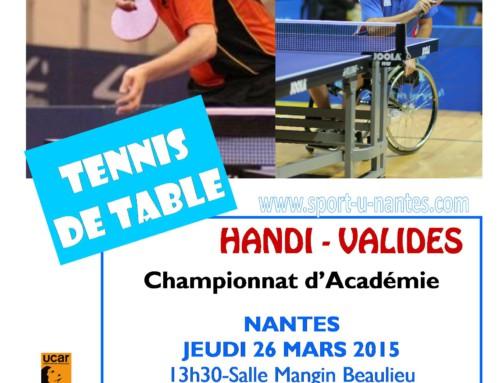 Championnat d'académie handi-valides le 26 mars à Nantes