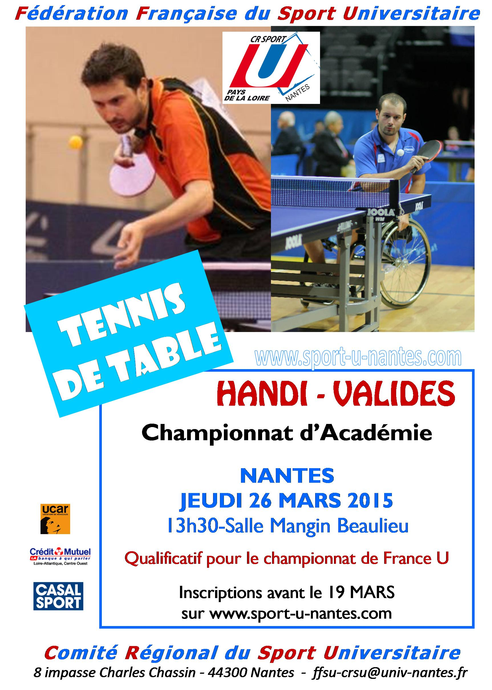 Championnat d acad mie handi valides le 26 mars nantes tennis de table ligue des pays de la - Ligue d auvergne de tennis de table ...
