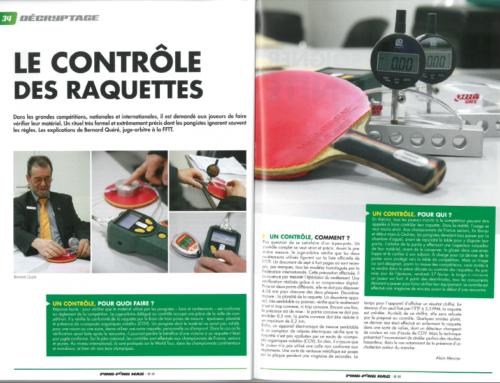 Article de Ping Pong Mag sur le contrôle des raquettes avec Bernard QUERE
