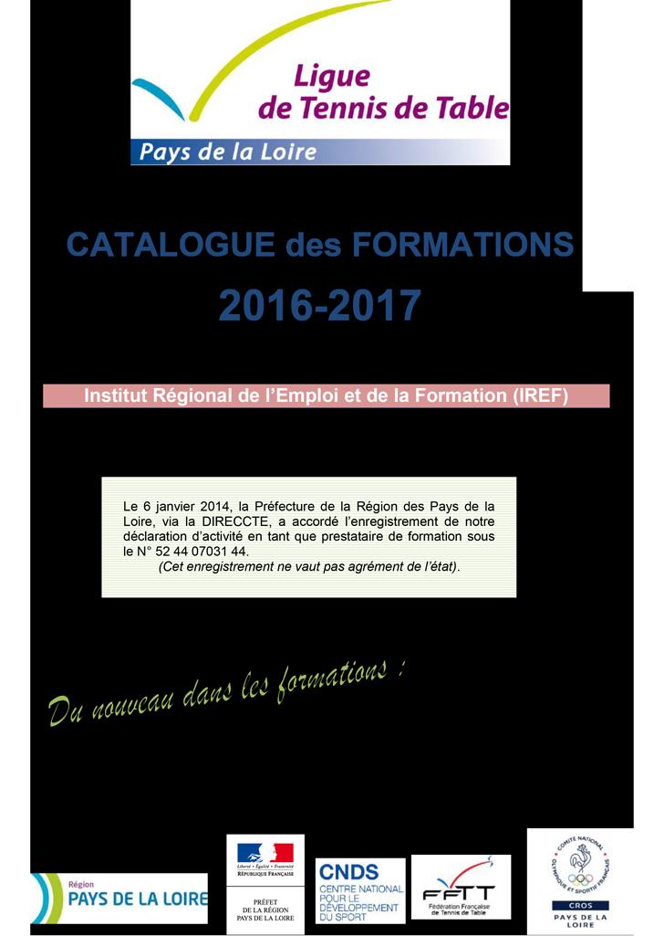 Catalogue des formations 2016 2017 tennis de table ligue - Ligue des pays de la loire tennis de table ...