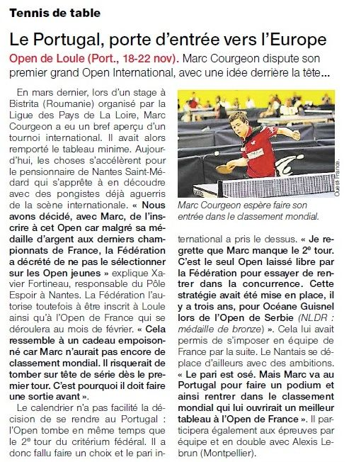 Marc courgeon m daille d 39 argent au portugal tennis de table ligue des pays de la loire - Ligue d auvergne de tennis de table ...