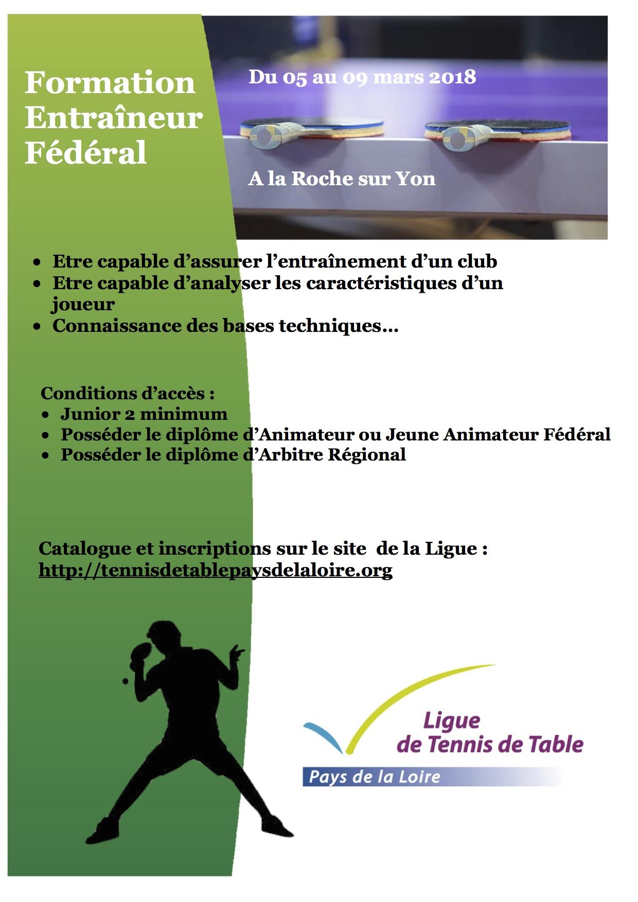 Formation entra neur f d ral tennis de table ligue des - Ligue des pays de la loire tennis de table ...