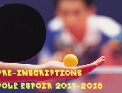 Pré-inscriptions Pôle espoir 2017-2018