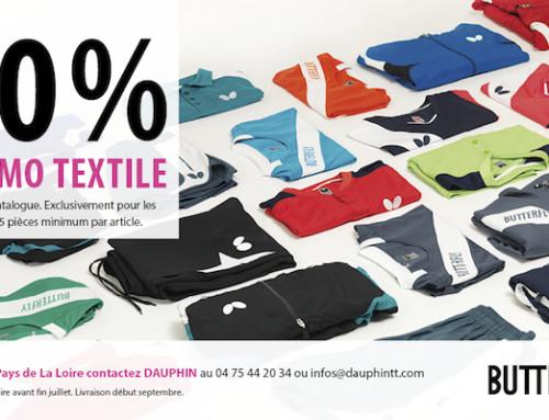Promo textile Butterfly, 30 % pour tous les clubs ligériens