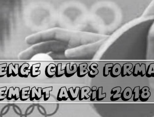 Challenge Clubs Formateurs : Classement avril 2018