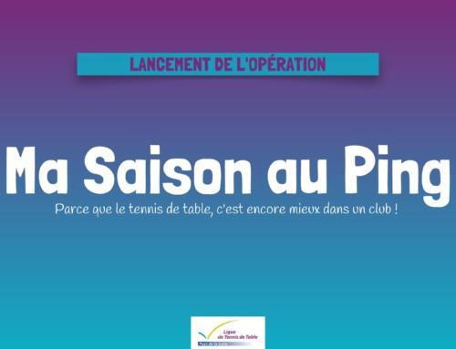 """Lancement opération """"Ma Saison au Ping"""""""
