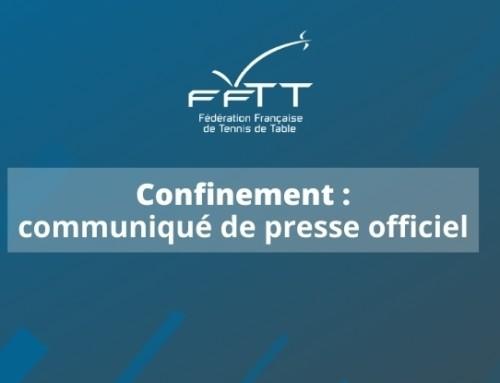 COVID-19 : Communiqué de la FFTT