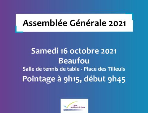 Infos pratiques pour l'Assemblée Générale 2021