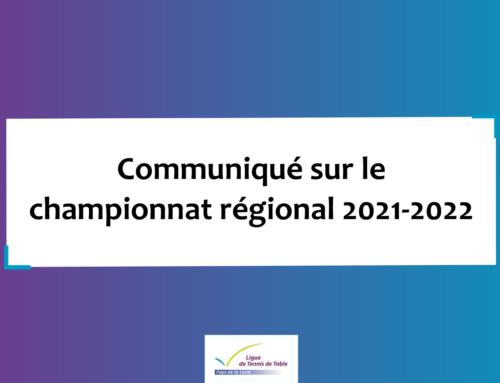 Communiqué sur le championnat régional 2021-2022